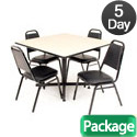 Kobe Base Cafe Table and Four Vinyl Stacker Chairs by Regency
