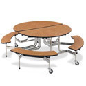 Click here for more Oval Mobile Bench Cafeteria Table by Virco by Worthington