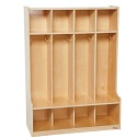 Click here for more 4 Section Seat Locker by Wood Designs by Worthington