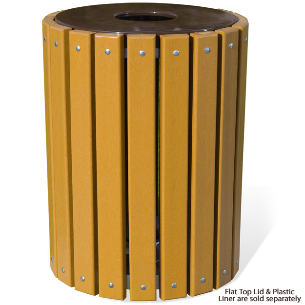 stock ultraplay tr32 recycled plastic round outdoor trash receptacle - Outdoor Trash Cans