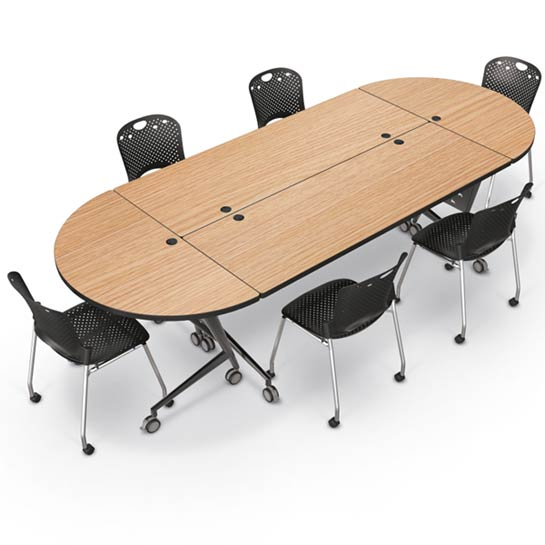 Balt Trend Flip Top Seminar Training Table Silver Frame