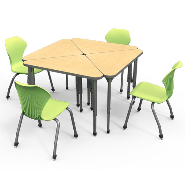 Marco group classroom set 20 apex triangle student desks for Tables and desks in the classroom