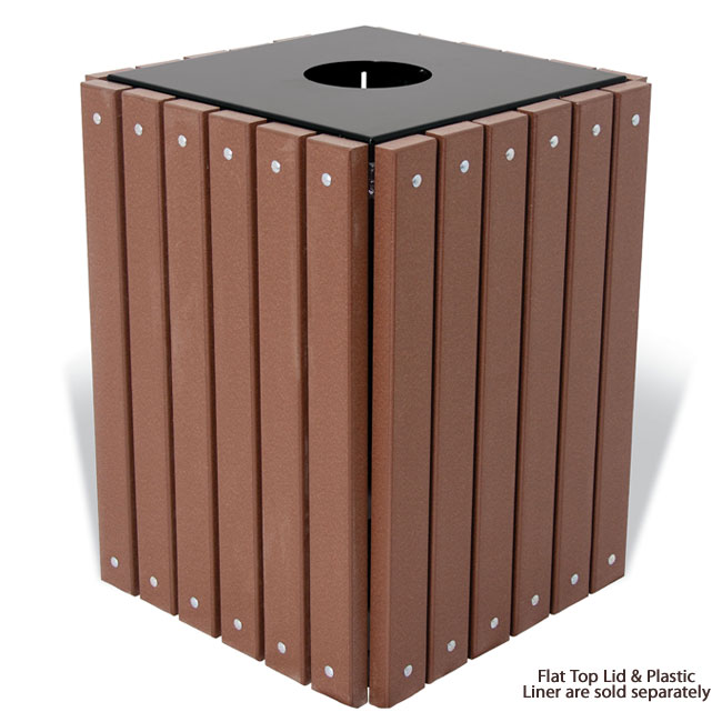 Ultraplay Recycled Plastic Square Outdoor Trash Receptacle