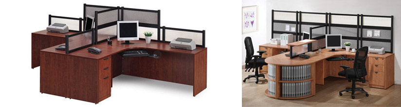 Two Person Desk with Dividers