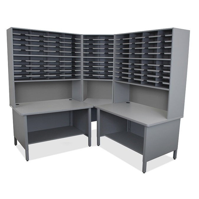 util0053-100-slot-corner-mailroom-sorter-w-shelves