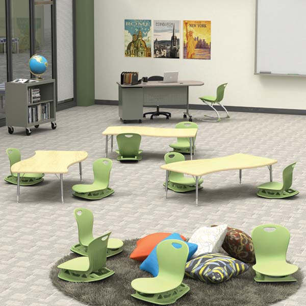 Floor Rocker Chairs and Low Classroom Tables from Virco