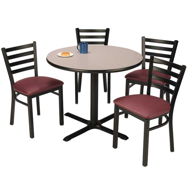 Kfi Seating X Base Cafe Table With Four Im Padded Ladder Back - Break room table and chair sets