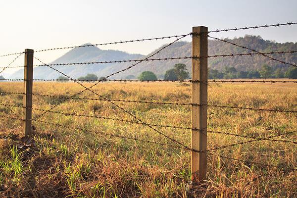 Barbed wire fences in Santa Barbara, CA