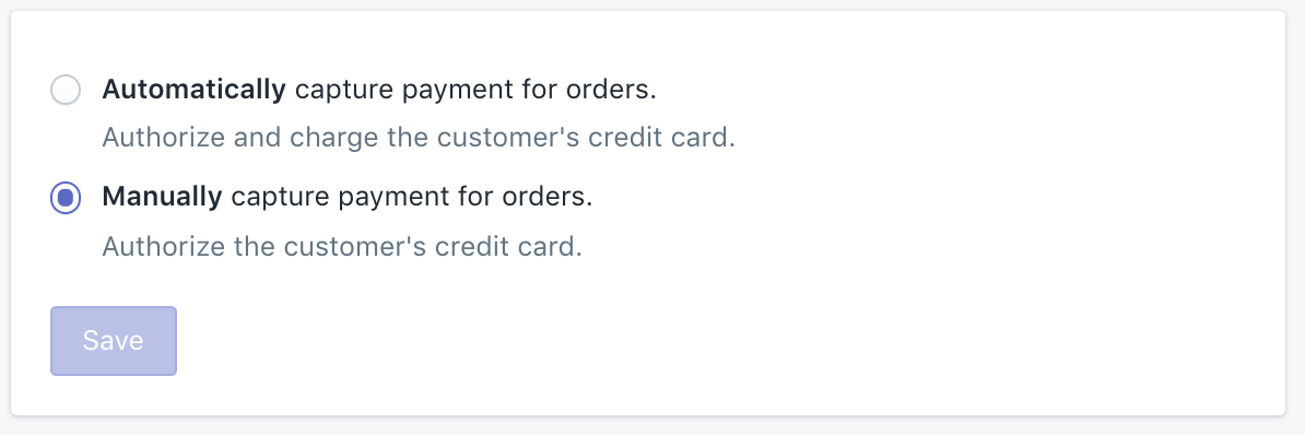 Shopify payments settings