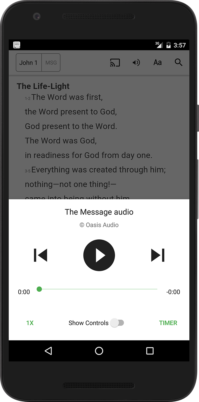 New Bible App for Android audio features