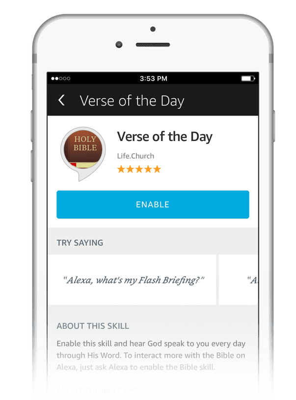 Enable the Verse of the Day for your Flash Briefing