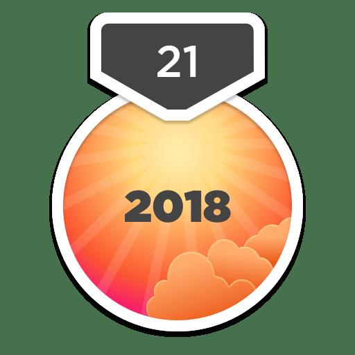 2018년 21일 도전 배지