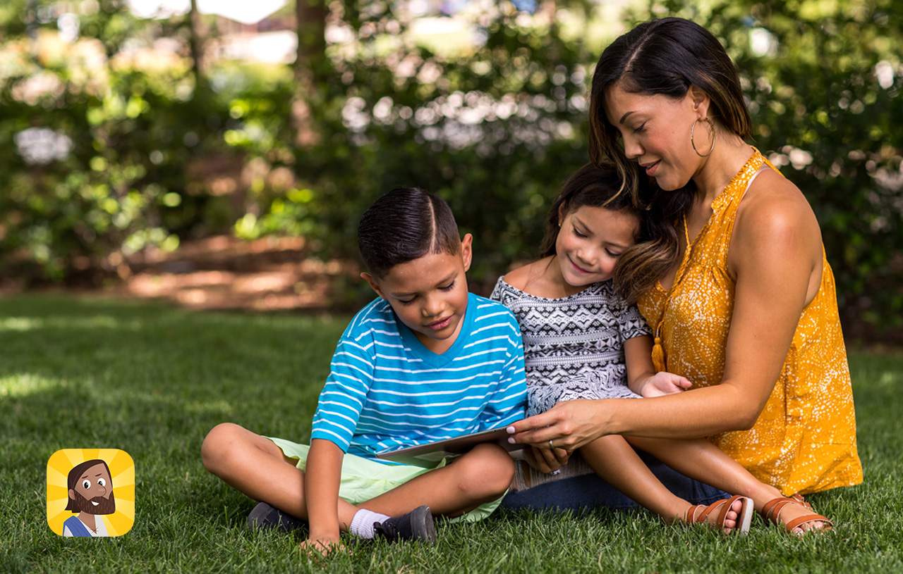 Family enjoying Bible App for Kids