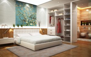 Bathroom in the bedroom with wardrobe