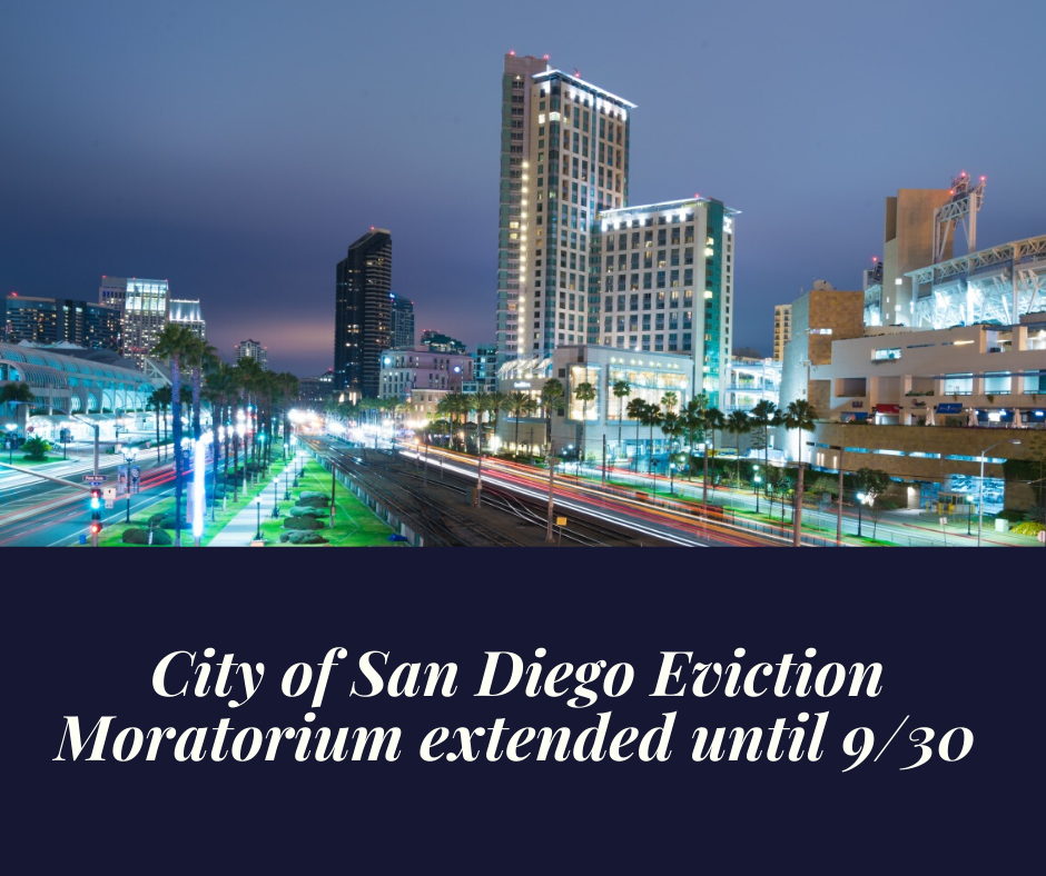 City of San Diego Eviction Moratorium Extension Approved Until September 30th
