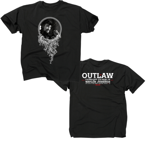 Outlaw Waylon Jennings Black T-shirt Front And Back