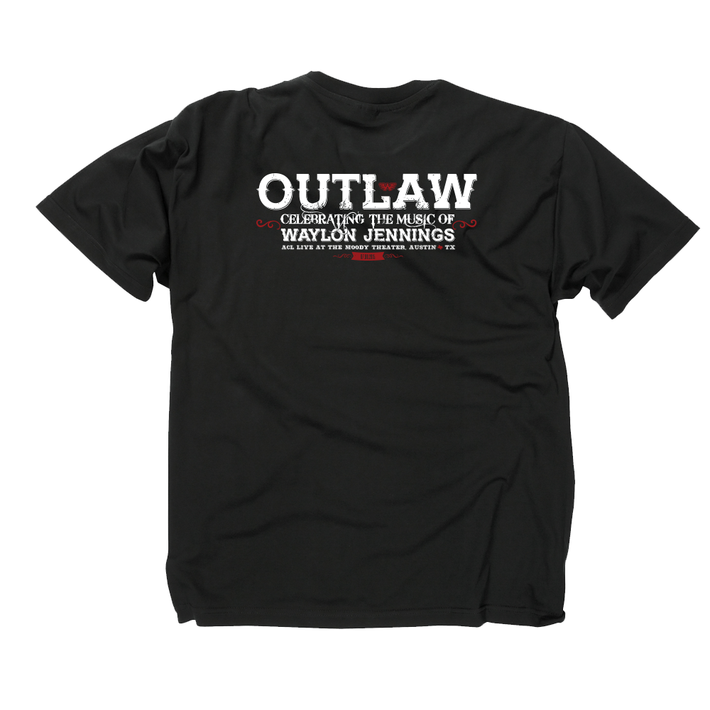 Outlaw Waylon Jennings Black T-shirt Back