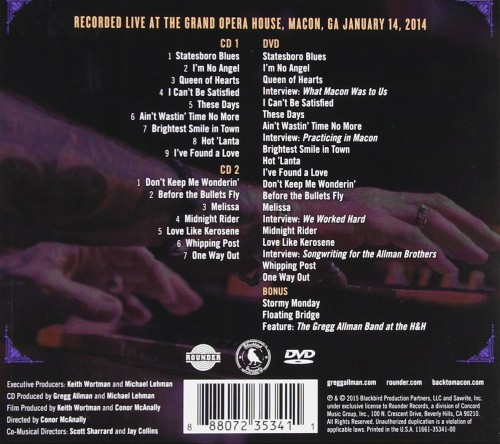 Gregg Allman Back To Macon Georgia DVD Back