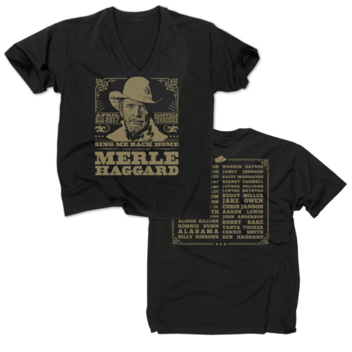 Music Of Merle Haggard Women's V-Neck Black T-Shirt
