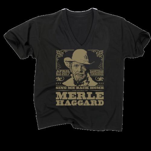 Music Of Merle Haggard Women's V-Neck Black T-Shirt