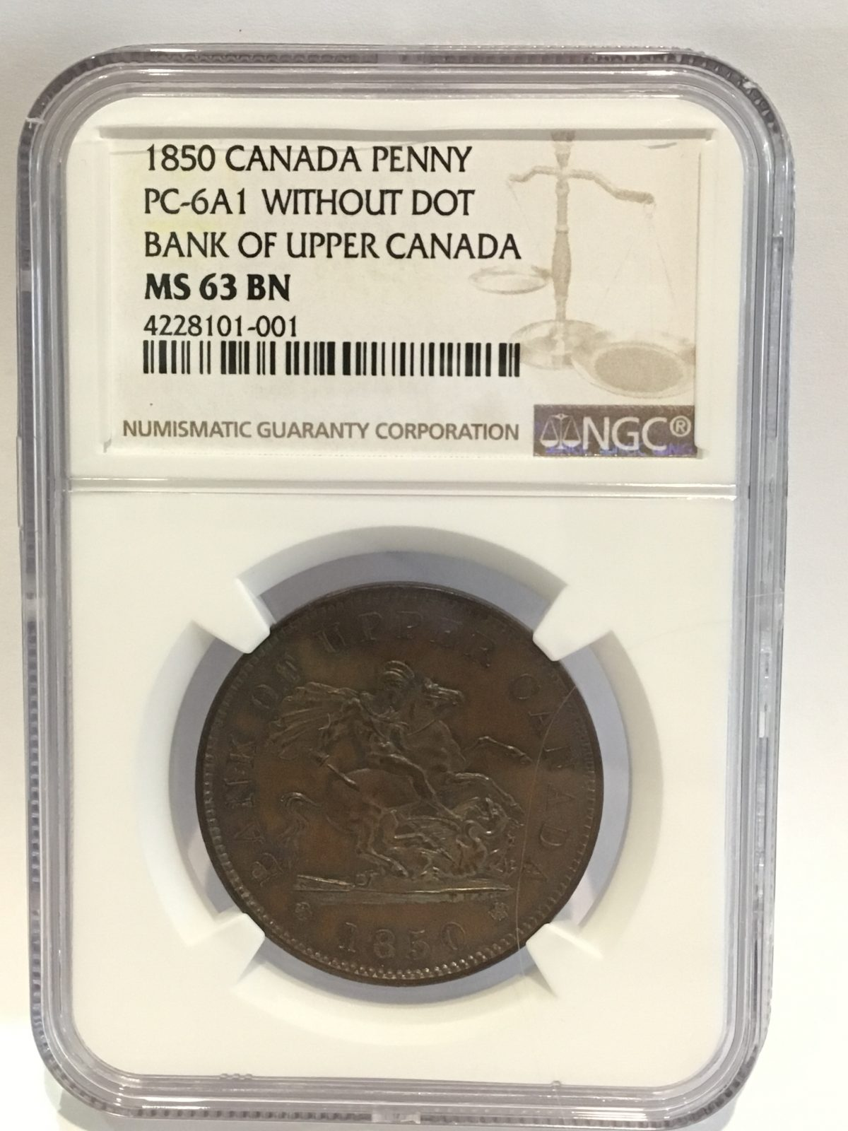 1850 Canada Penny Bank of Upper Canada NGC Certified MS 63 BN