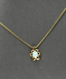 14k yellow gold Necklace Australian Opal Pendant
