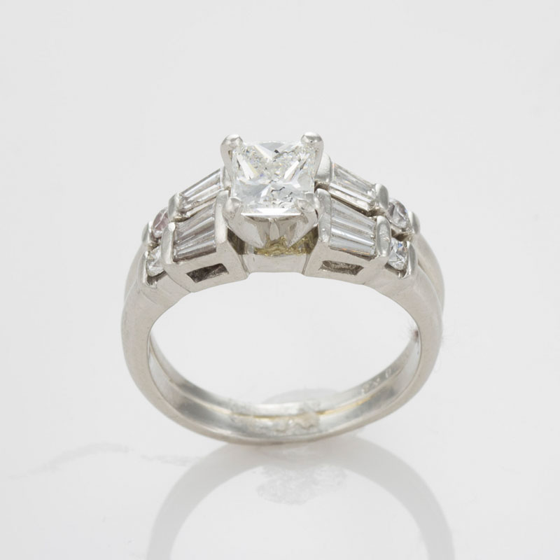 Platinum Aig Graded Princess Cut Diamond Engagement Ring Band Size 5 Ebay