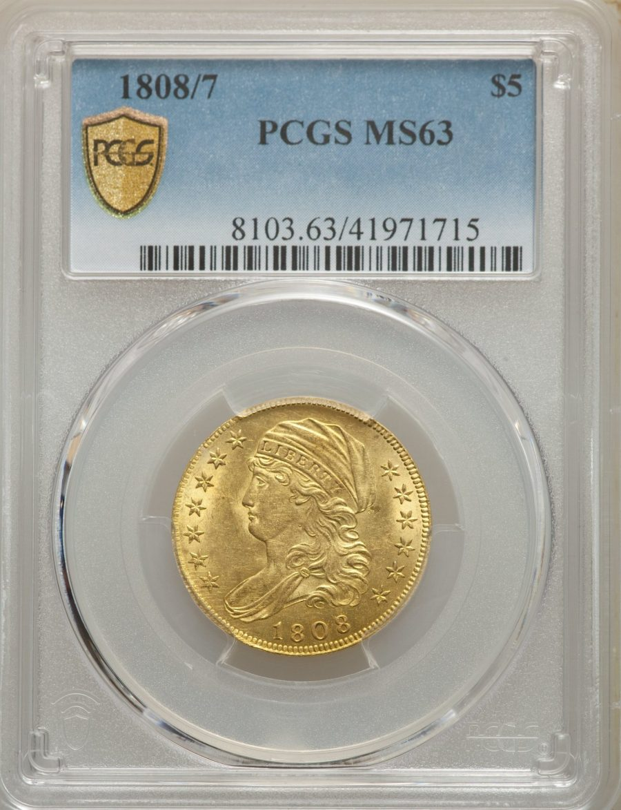 1808/7 $5 Capped Bust, Half Eagle - PCGS MS63