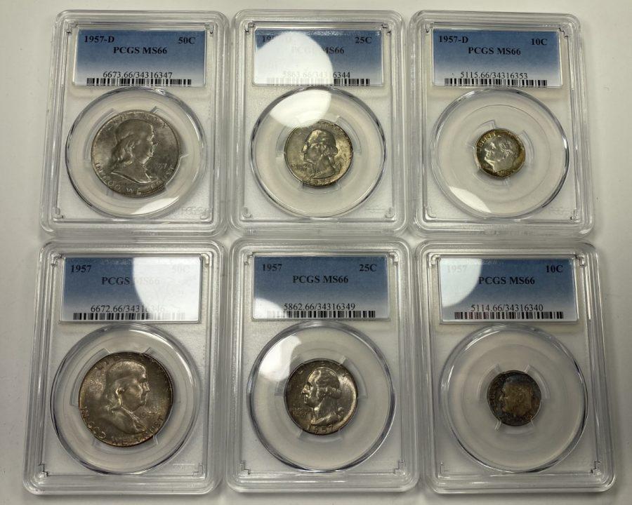 (6) Coin Set 1957 Mint Set Complete Silver GEM UNC Toned MS 66 PCGS Certified