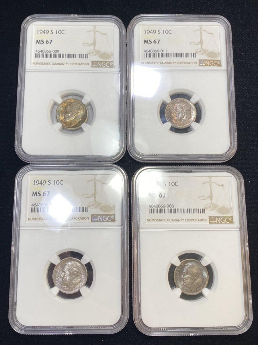 Set of (4) 1949-S Roosevelt Dimes MS 67 NGC Certified Original Mint Set Coins US