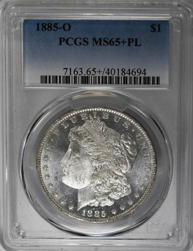 1885-O $1, DM Morgan Dollar CAMEO Crescent Toning PCGS MS65+PL