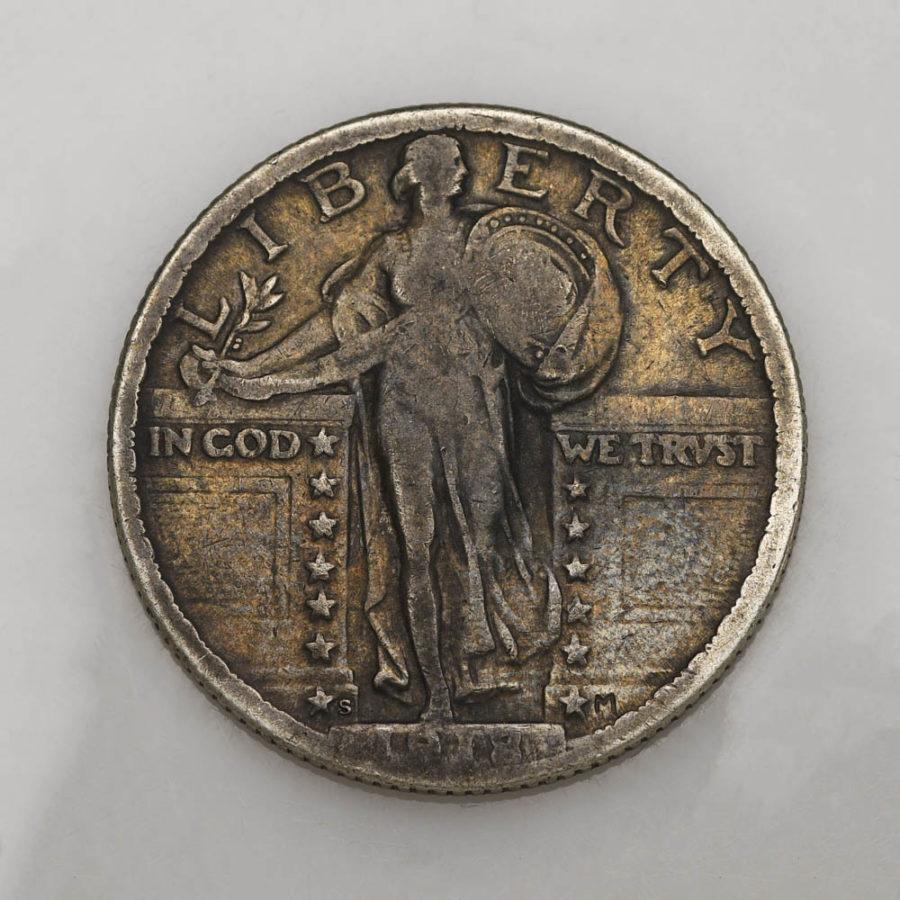 1918/7-S 25C Standing Liberty Quarter F/VF Silver Rare Worn Detail Coin Original