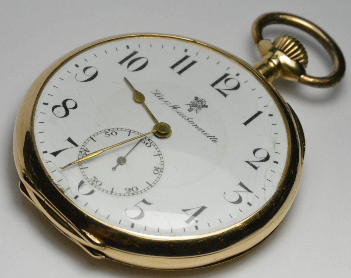 1905 La Maisonnette Swiss Pocket Watch 14k Yellow Gold 49mm