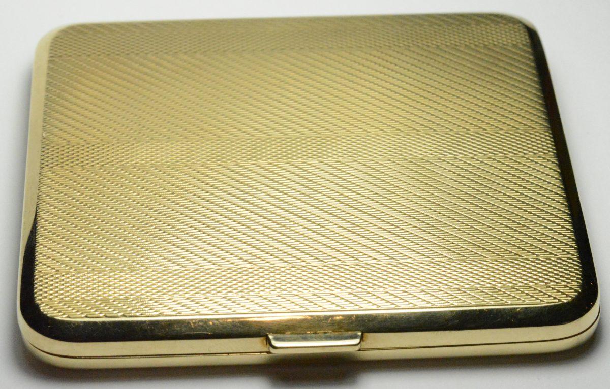 British Art Deco Antique 9k Yellow Gold Cigarette Case Mesh Line Pattern 80.7g
