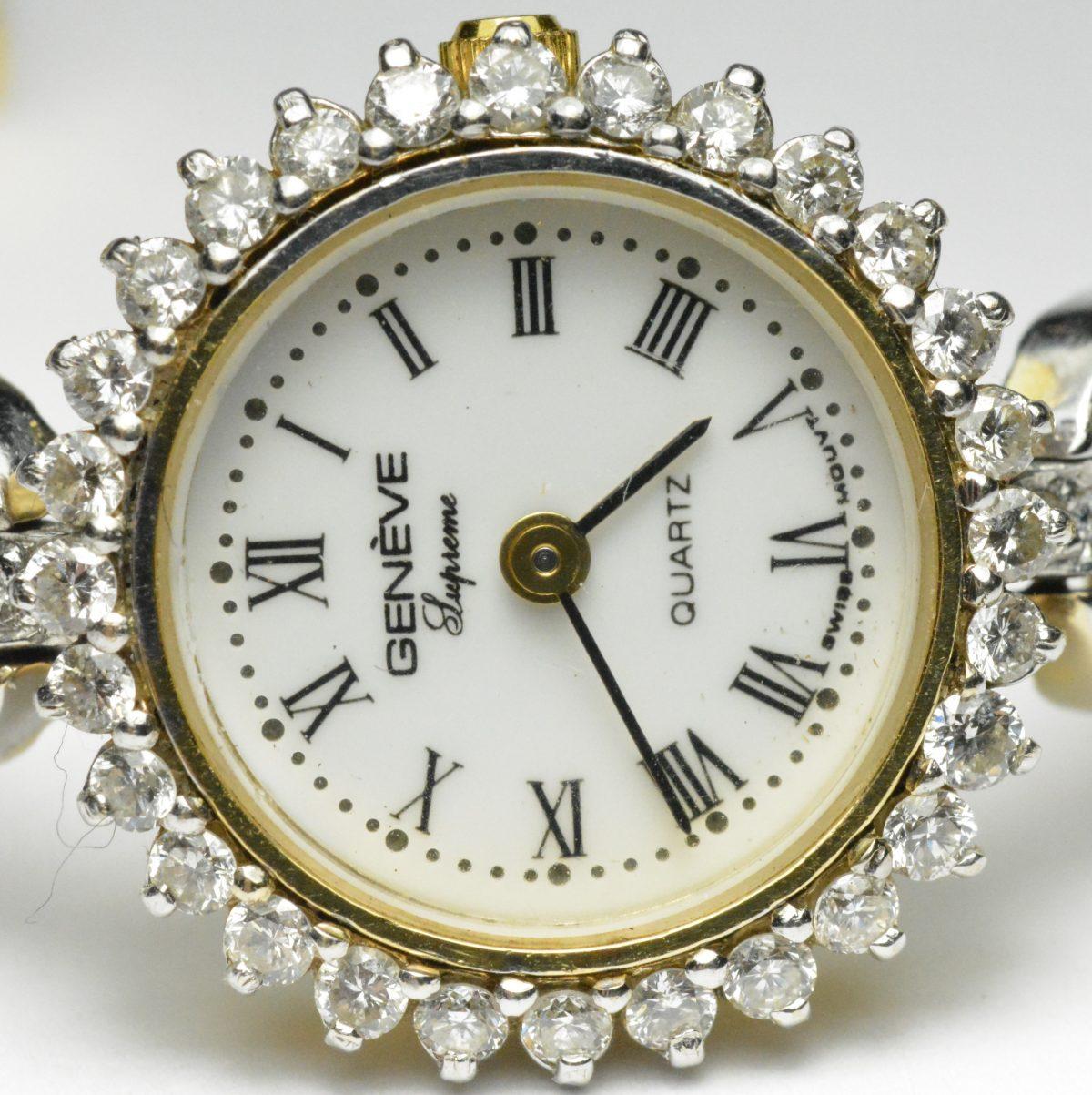 Ladies Geneve Quartz Wristwatch 14k Yellow Gold Swiss Quartz 1.00cts G-H VS-SI