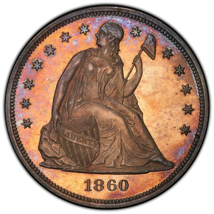 1860 $1 Liberty Seated Dollar, PCGS&CAC PR64+ SUPERB SURFACES