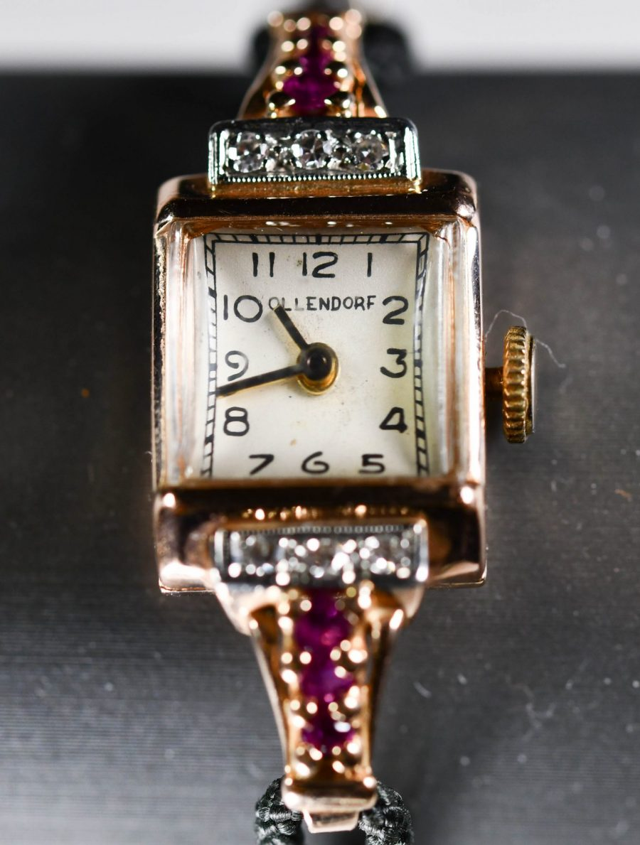 14K Rose Gold Antique Wristwatch Ollendorf Ruby Diamond Working, Great Condition