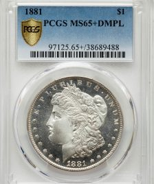1881 $1 Morgan Dollar certified PCGS MS65+ Deep Mirror Proof Like (DMPL)