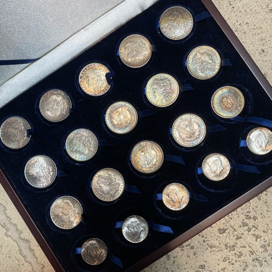 Lot of Toned Silver Coins- 14 Morgans/5 1964 JFK/ $1 Canada