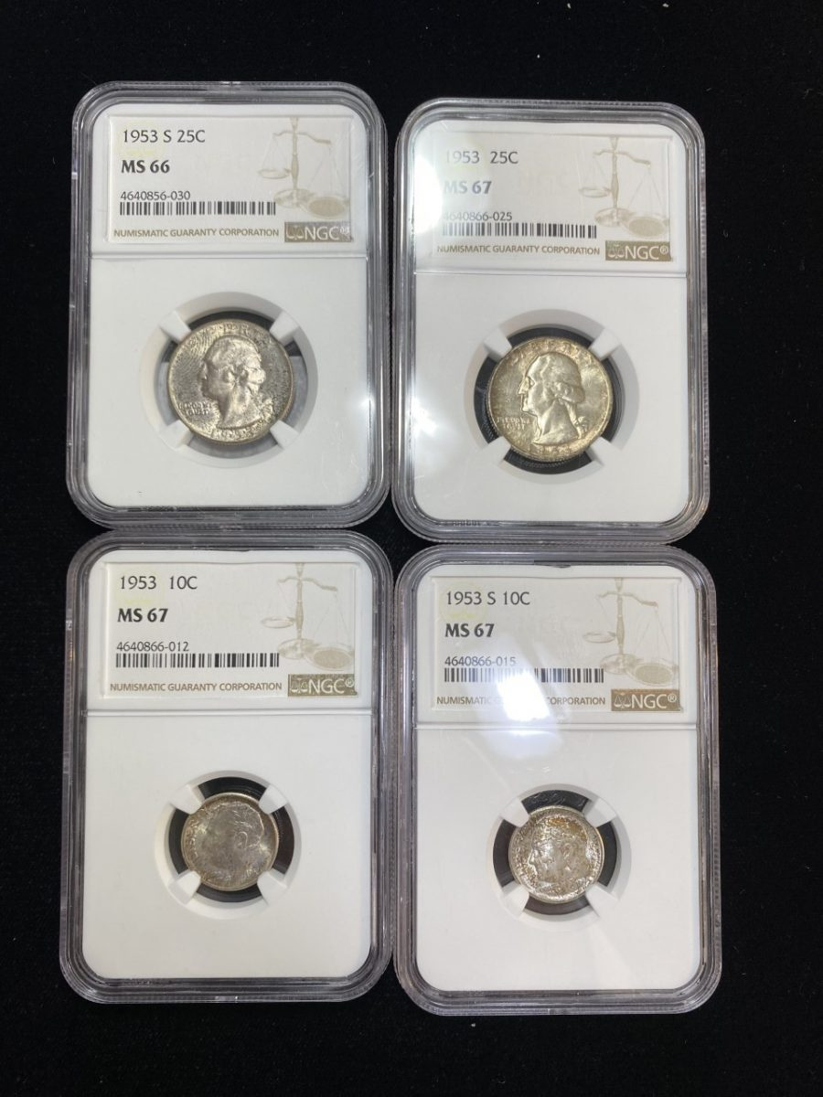 Lot of 4- 1953 & 1953-S 10C & 25C MS66 (1) & MS67 (3) Mint Set Toned Silver
