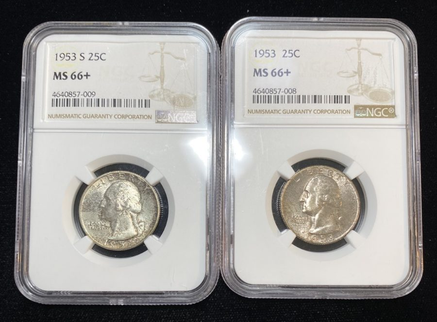 Lot of 2 1953 & 1953 S 25C Washington Quarter Coin Silver NGC MS66+ Toned From Mint Set