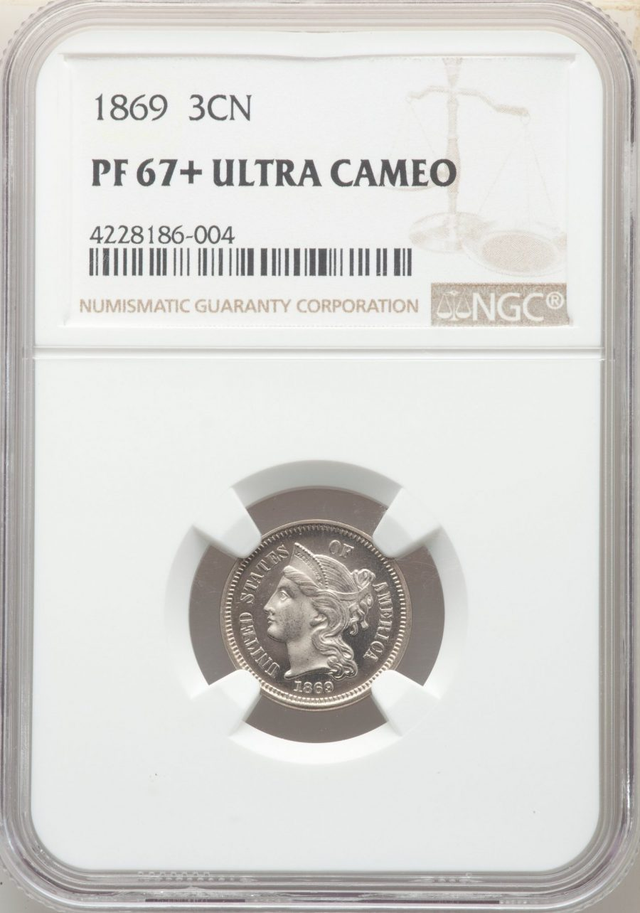 1869 3CN, DC Three Cent Nickel NGC PF67+ ULTRA CAMEO