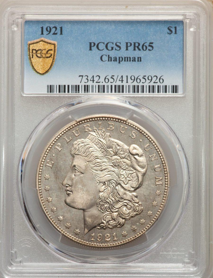 1921 $1 Chapman Morgan Dollar PCGS PR65