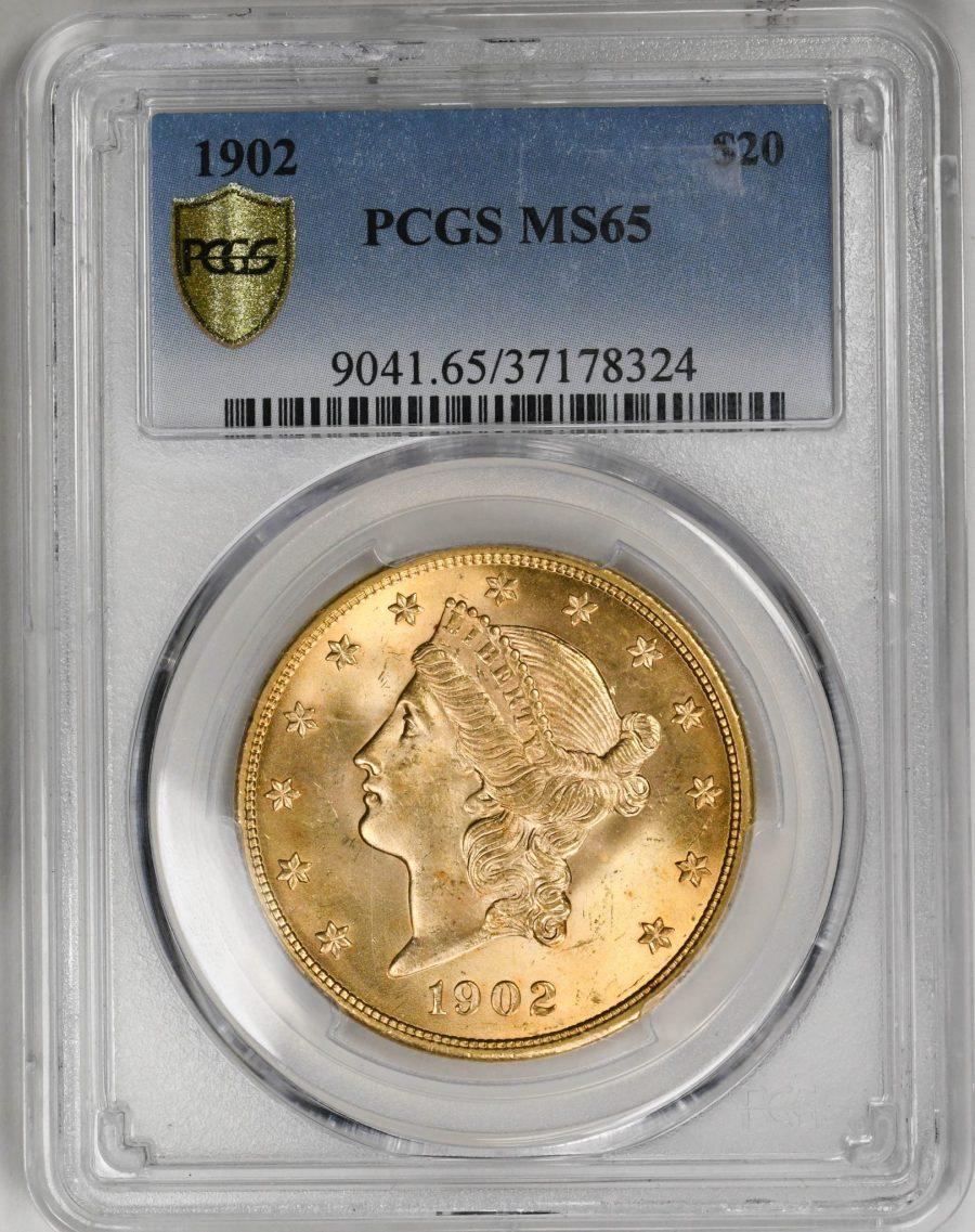 1902 Liberty Head $20 Type 3 Motto PCGS MS65 Top Pop Rare Gold Coin