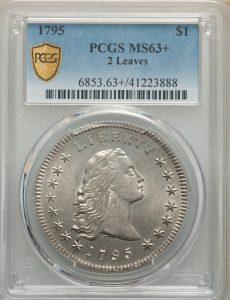 1795 $1 2 Leaves Flowing Hair Dollar PCGS MS63+