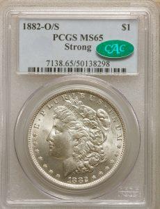 1882-O/S $1 Strong Morgan Dollar PCGS&CAC MS65+