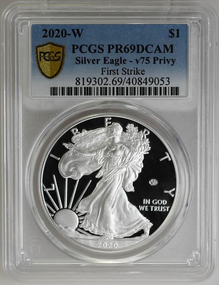 2020-W $1 Silver Eagle v75 Privy First Strike, PCGS PR69DCAM