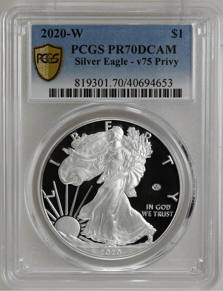 2020-W $1 Silver Eagle PCGS PR70DCAM, v75 Privy