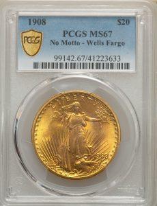 1908 $20 No Motto - Wells Fargo St. Gaudens - Type 2 No Motto PCGS MS67