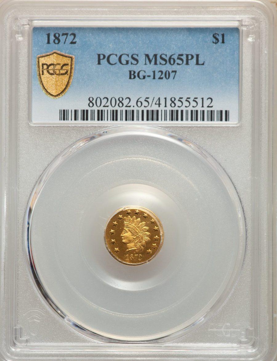 1872 $1 BG-1207 California Fractional Gold PCGS MS65PL